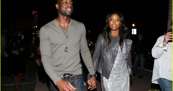 Dwayne Wade and girlfriend Gabrielle Union attend the 26th birthday party of basketball star, LeBron James, in Miami