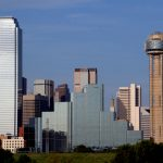 A section of buildings in the Dallas Texas Skyline.
