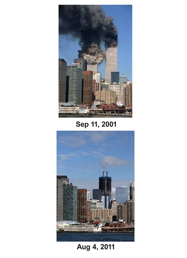 Shown in this combo image are two documentations of the September 11, 2001, terrorist attack in New York City and the current day location. (Top) The south tower starts to collapse as smoke billows from both buildings of the World Trade Center in New York. (Below) The skyscraper known as One World Trade Center rises in the lower Manhattan skyline, Aug. 4, 2011 in New York. (AP Photo/ Jim Collins (Top), Mark Lennihan (Bottom))
